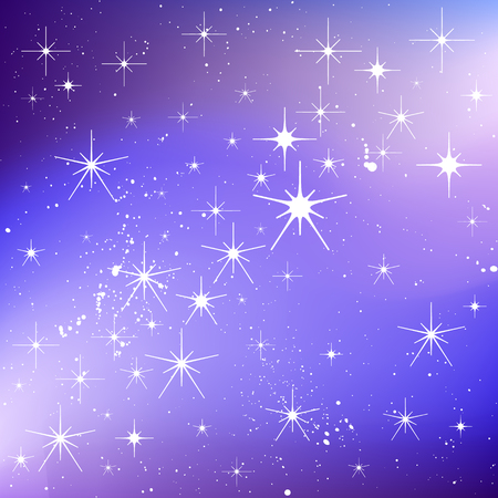 Winter Holiday milky way background with stars, snow. Vector blurred texture for greeting card.