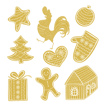 Vector winter holiday labels with hand lettering calligraphy 2017 and Happy New Year, Rooster, Santa, snowman, bear. Christmas backgrounds, speech bubbles set.