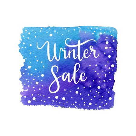 Winter sale card, label, frame. Vector holidays shape with hand lettering calligraphic, snow. Christmas space background.