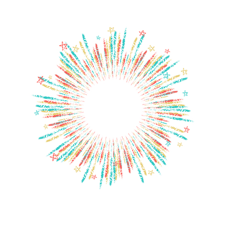 Vector firework element on a white background with stars. Illustration