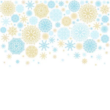 Vector winter holiday backgrounds with golden and blue snowflakes. Çizim