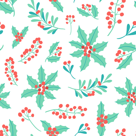 Winter Holiday seamless pattern with mistletoe branch, poinsettia, berry. Vector Christmas background.