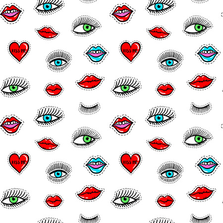 Hand drawn fashion patches eyes, red lip, heart seamless pattern. Vector beauty illustration of open and close eyes for card, clothes, background. Pop art sticker, patche, pin, badge 80s-90s style