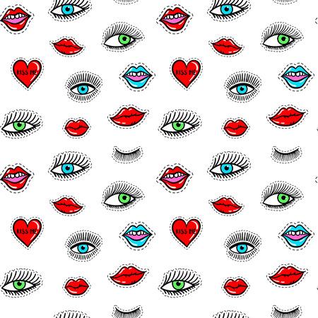 Hand gezeichnete Mode patcht Augen, rote Lippe, nahtloses Muster des Herzens. Vector Schönheitsillustration von offenen und nahen Augen für Karte, Kleidung, Hintergrund. Pop-Art-Aufkleber, Patch, Pin, Abzeichen 80er-90er-Stil