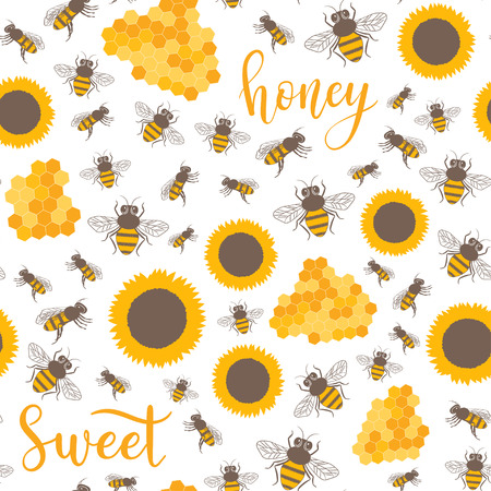 Vector seamless pattern with sunflowers, bees, honey sweet text. Sweet honey background for beekeeping products.