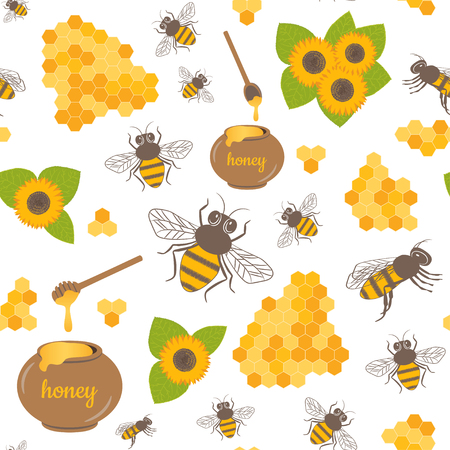 Vector seamless pattern with sunflowers, bees, honey. Sweet honey background for beekeeping products. Illustration