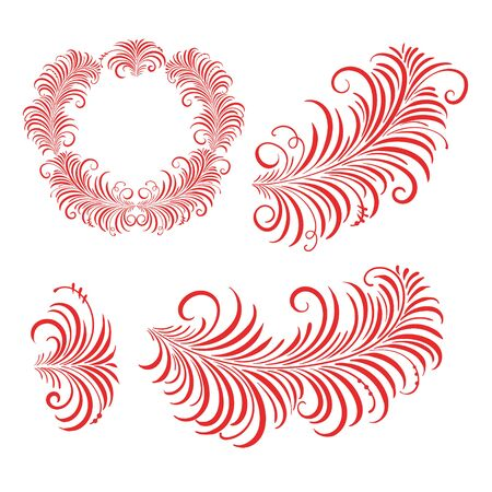 Vector floral wreath, branch in Russian Khokhloma style