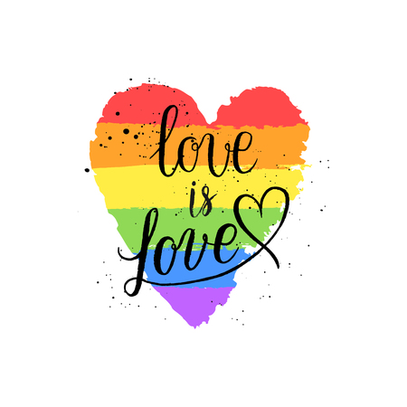 LGBT, gay and lesbian pride greeting cards, posters with spectrum hand drawn paint strokes, hearts, rainbow on Valentines Day. Vector design elements with hand lettering isolated on white background. Çizim
