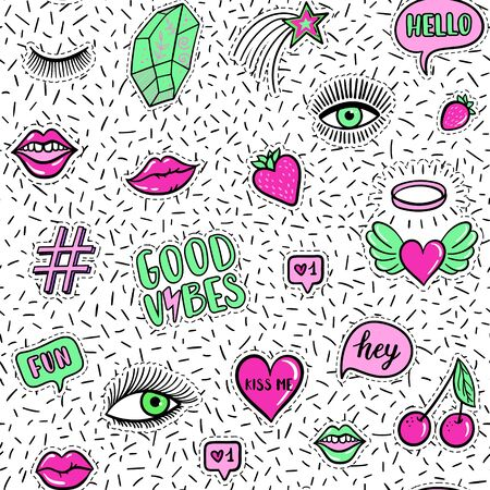 Vector seamless pattern with fashion fun patches: eyes, lip, star, strawberry, cherry, crystal, Good vibes speech bubble on confetti background. Pop art stickers, patches, pins, badges 80s-90s style