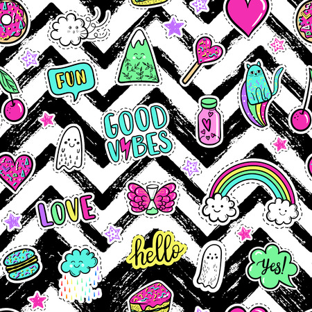 macaron: Vector hand drawn fashion pink color patches: rainbow, doughnut, mountain, cat, ghost, cloud, macaron, cake, lollipop, heart seamless pattern. Modern pop art sticker, patches pin, badge 80s-90s style
