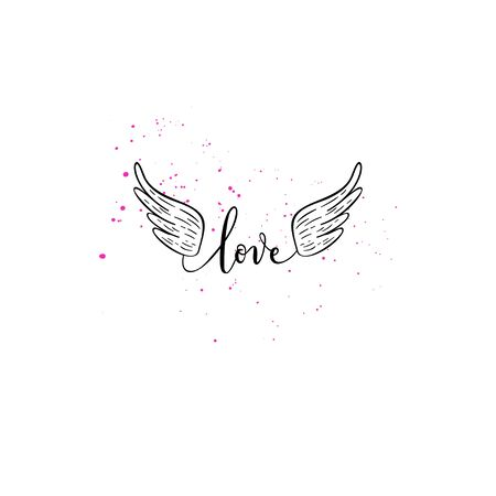 Love greeting card, poster with heart, wing. Vector background with hand lettering. Illustration