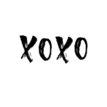 XO XO greeting card, poster. Vector icon, with hand lettering on Happy Valentines Day.