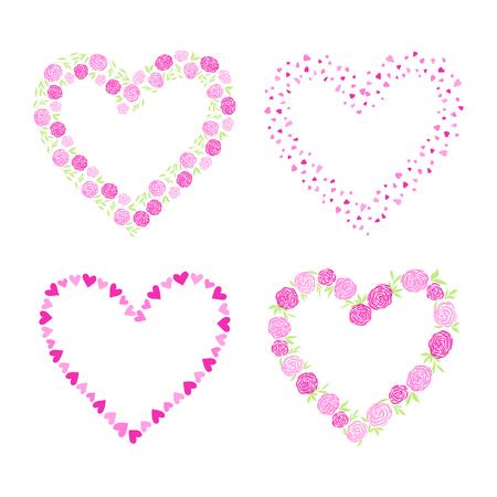 Liebesgrußkarte, Plakat Mit Blumengrenze, Kranz, Girlande ...