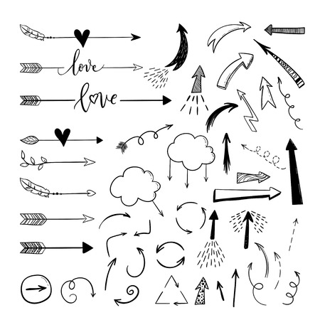 Handdrawn arraws, borders set with hearts, love. Vector icon. Ilustrace