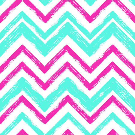 Vector grunge hand drawn colorful abstract stripe seamless pattern. Pop art ink fabric texture. Blue, pink fashion abstract background in 80s-90s color cartoon style.