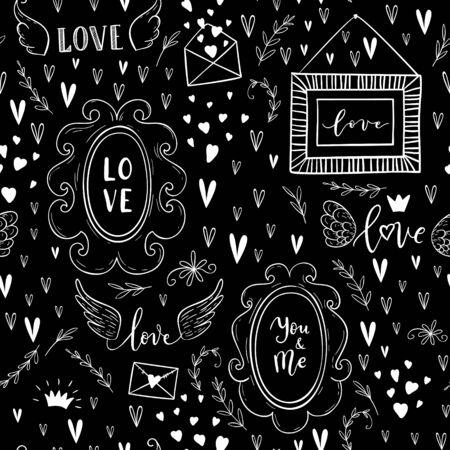 Vector fashion seamless pattern on Happy Valentines Day. Doodle style Illusztráció