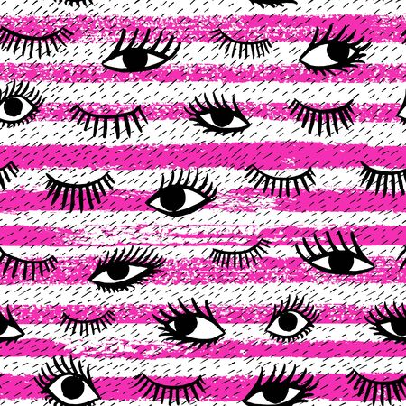 Hand drawn eye, pink lips doodles seamless pattern in retro style. Vector beauty illustration of open and close eyes for cards, textile, background. Ilustracja