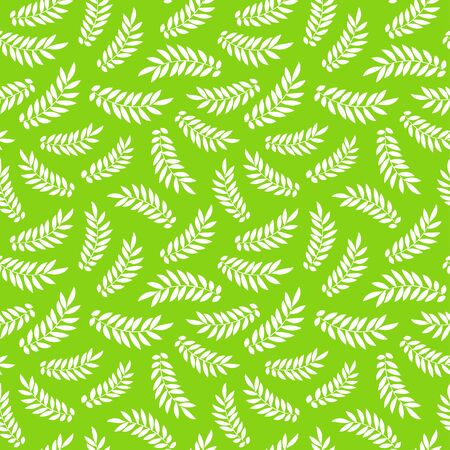 Pattern with sketch leaves. Vector green nature background. Doodle drawing. Illustration