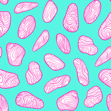 Pattern with sketch stones. Vector cartoon and boho background in pop art style. Doodle drawing.