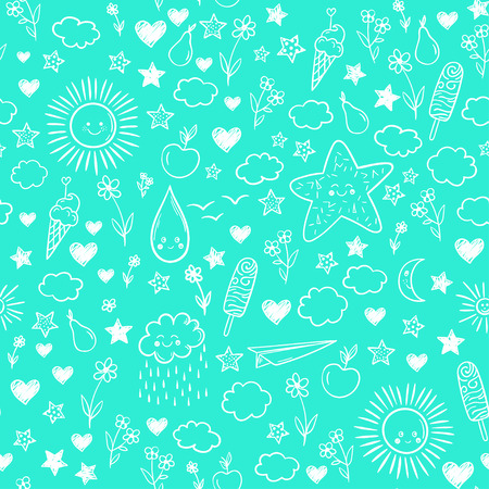 Pattern with cloud, ice-cream, flowers, sun, star. Vector cartoon kids background. Doodle drawing.