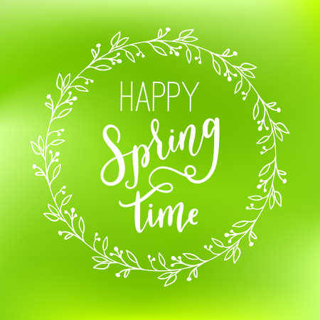 Happy Spring time vector green blurred gradient style pattern. Abstract smooth colorful spring illustration.