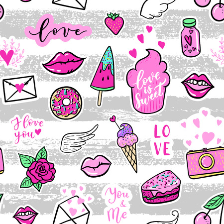 Vector seamless pattern with fashion fun patches: lip, star, strawberry, speech bubble on stripe pattern. Pop art stickers, patches, pins, badges 80s-90s style