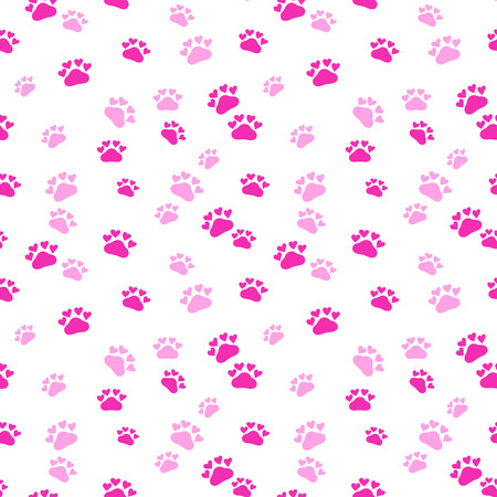 Vector fashion seamless pattern with cat's trace. Doodle style Stock Illustratie