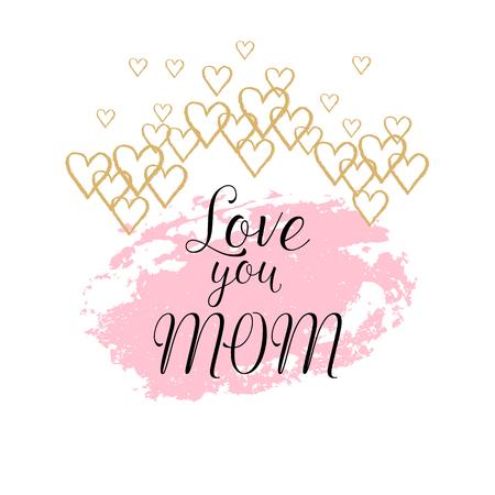 愉快的母亲节贺卡,海报与墨水手拉的污点,心脏。与手字法的传染媒介背景。