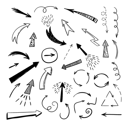 Handgetekende arraws op witte achtergrond. Vector doodle pictogramserie.