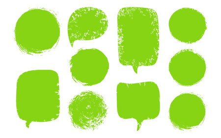 Vector collection of green speech bubbles, labels, shapes isolated on black background. Abstract design elements set.