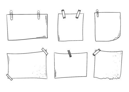 note pad: Vector notepapers, notebook, copybook sheets. Doodle vector illustration. Hand drawn vintage, modern set.