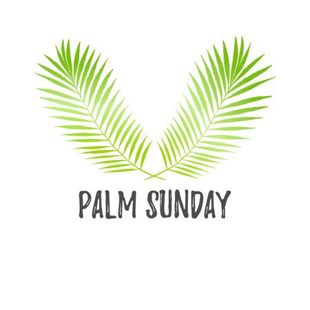 Palm zondag vakantie kaart, poster met palmbladeren. Vector achtergrond