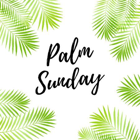 Palm zondag vakantie kaart, poster met palmbladeren grens, frame. Vector achtergrond