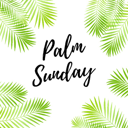 Palm Sunday holiday card, poster with palm leaves border, frame. Vector background Illustration