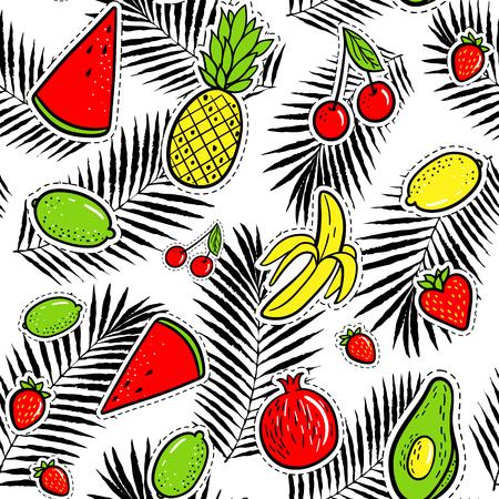 Hand drawn fashion patches tropical fruits: lemon, avocado, pineapple, banana, watermelon on palm leaves.