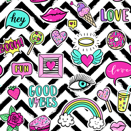 Vector seamless pattern with fashion fun patches: lip, star, strawberry, speech bubble on stripe background.