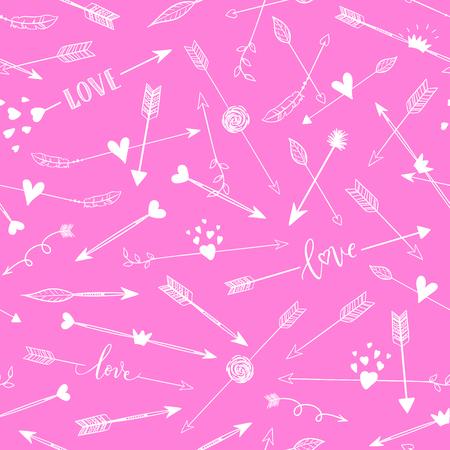 Handgetekende arraws naadloze patroon. roze romantische achtergrond