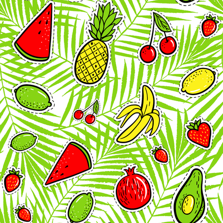 Hand drawn fashion patches tropical fruits: lemon, avocado, pineapple, banana, watermelon on palm leaves seamless pattern. Vector illustration background. Pop art patche, pin, badge 80s-90s style