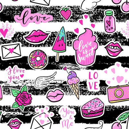 Vector seamless pattern with fashion fun patches: lip, star, strawberry, speech bubble on stripe background. Pop art stickers, patches, pins, badges 80s-90s style