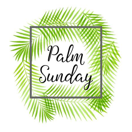 종려 나무 일요일 휴가 카드, 종려 나무 잎 테두리, 프레임 일러스트