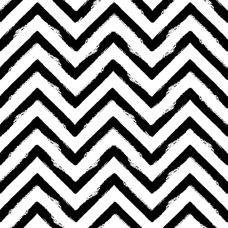 Hand drawn black ink abstract striped seamless pattern. Vector grunge texture. Monochrome paint brush smears on white background. Illustration