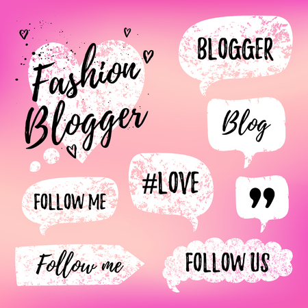 Vector speech bubbles with phrases Fashon Blogger, Blog, love, follow me on pink blurred background. Hand drawn blog label in grunge style with hashtag. Social media icons set. Stock Photo