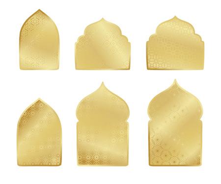 islamic pattern: Ramadan Kareem gold greeting card, banner muslim elements. Vector arabic shining background in islamic style Illustration