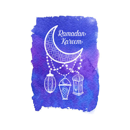 Ramadan Kareem greeting card, banner, poster, logo with lantern, crescent, moon and star elements. Vector arabic background in islamic style
