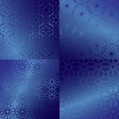 islamic pattern: Ramadan Kareem blue gold greeting card, banner, seamless pattern set. Vector arabic ornate geometric shining background in islamic style