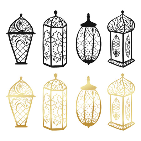 Ramadan Kareem lantern elements set. Vector arabic background in islamic style