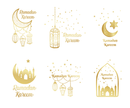 Ramadan Kareem greeting card, banner, poster, logo with lantern, crescent, moon and star elements. Vector arabic gold background in islamic style