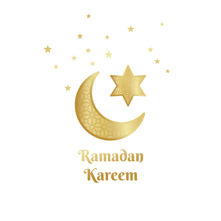 Ramadan Kareem greeting card, banner, poster, with crescent, moon and star elements. Vector arabic gold background in islamic style