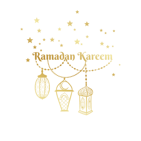 Ramadan Kareem greeting card, banner, poster, logo with lantern, star elements. Vector arabic gold background in islamic style