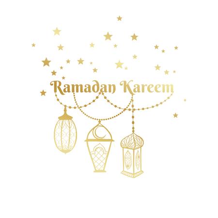 Ramadan Kareem greeting card, banner, poster, logo with lantern, star elements. Vector arabic gold background in islamic style
